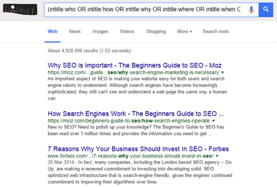 Google search query to find content ideas