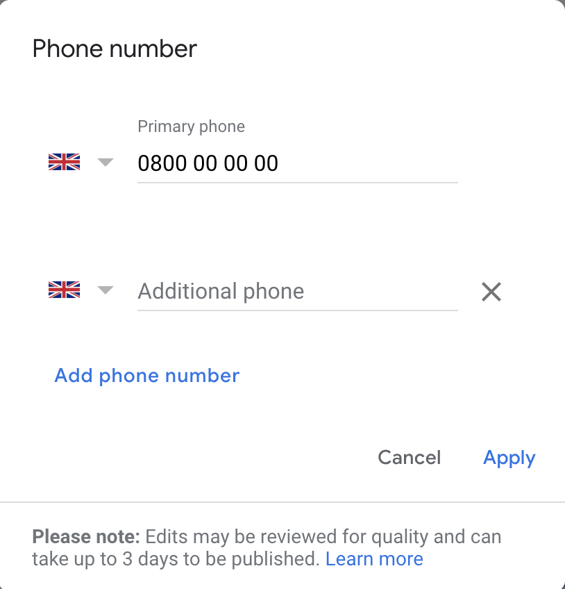 GMB phone numbers options for call tracking