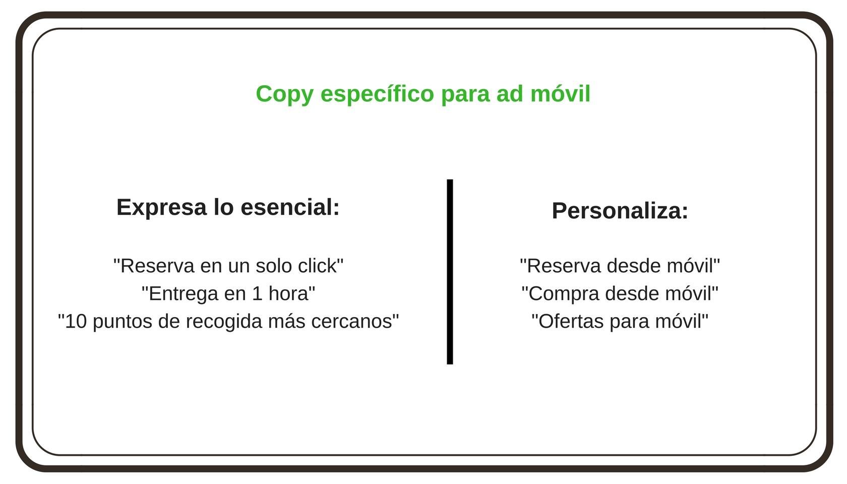 Copy específico para ads en móvil