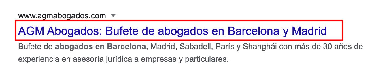 Google SERP result title tag screenshot
