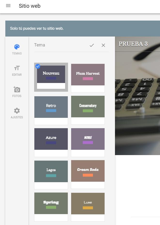 Novedades de Google My Business - Elige un tema para tu web