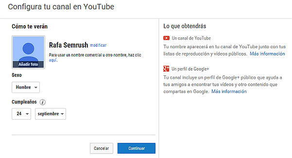 Crear canal Youtube - Configurar canal YouTube