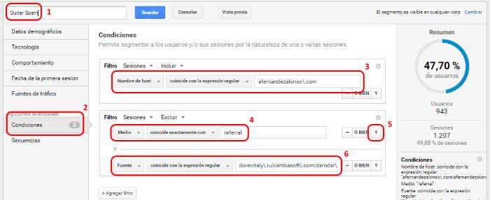Crear los filtros contra el Spam dentro de un segmento