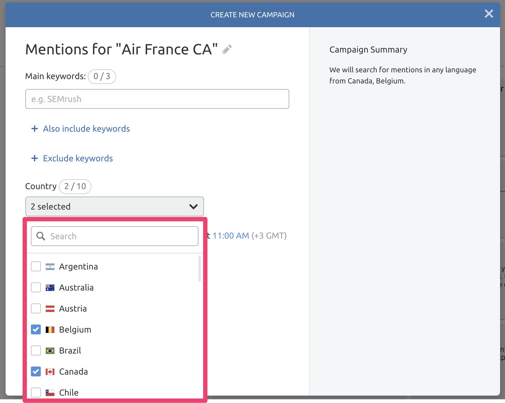 Novedades SEMrush Agosto 2019 - Menciones Air France