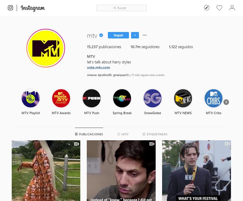 Likes en Instagram - MTV
