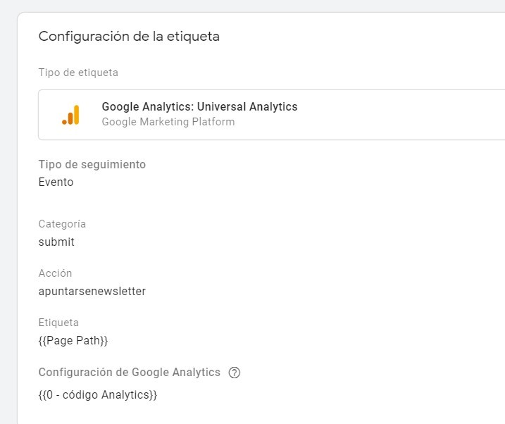 Auditoría de Google Analytics - Tag manager para eventos