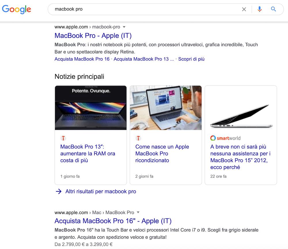 esempio di serp con due risultati che sembrano competere per una keyword