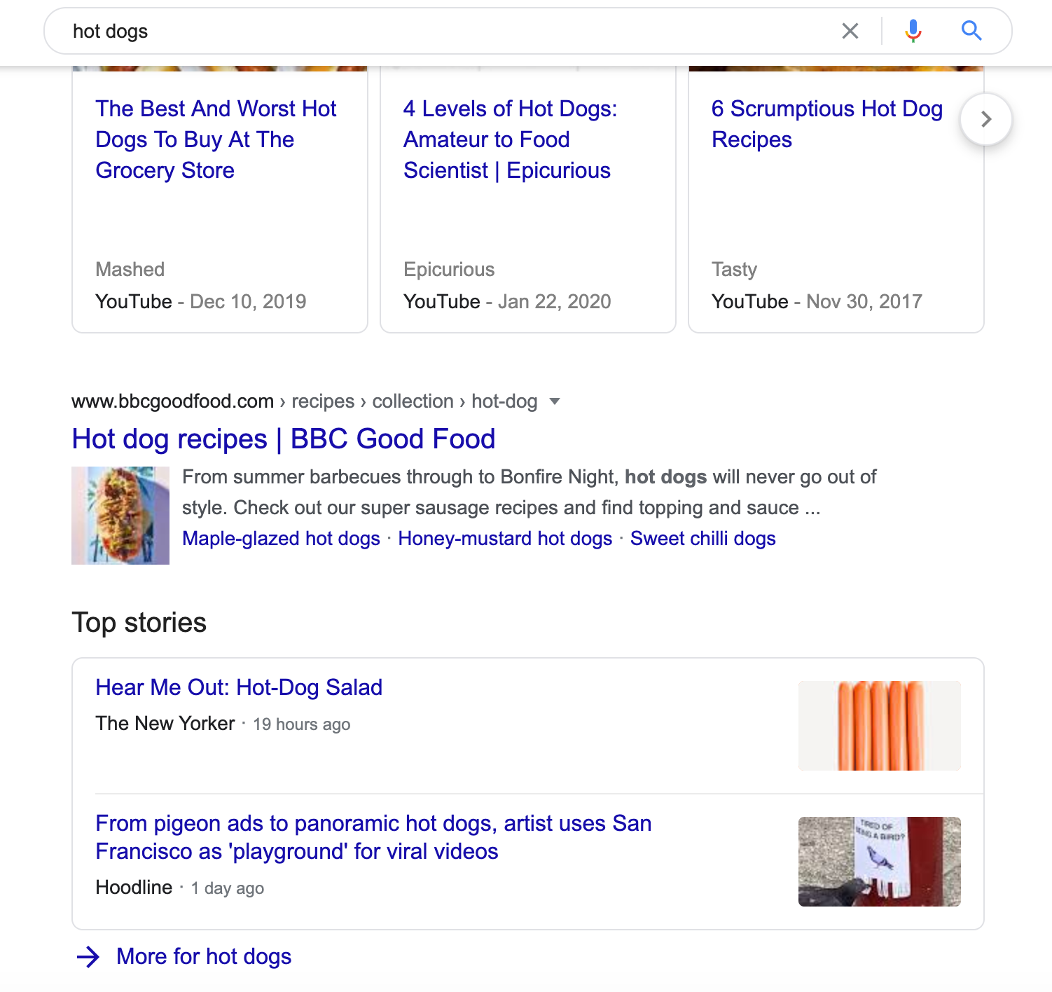 Google Top Stories SERP Feature in the middle of a SERP