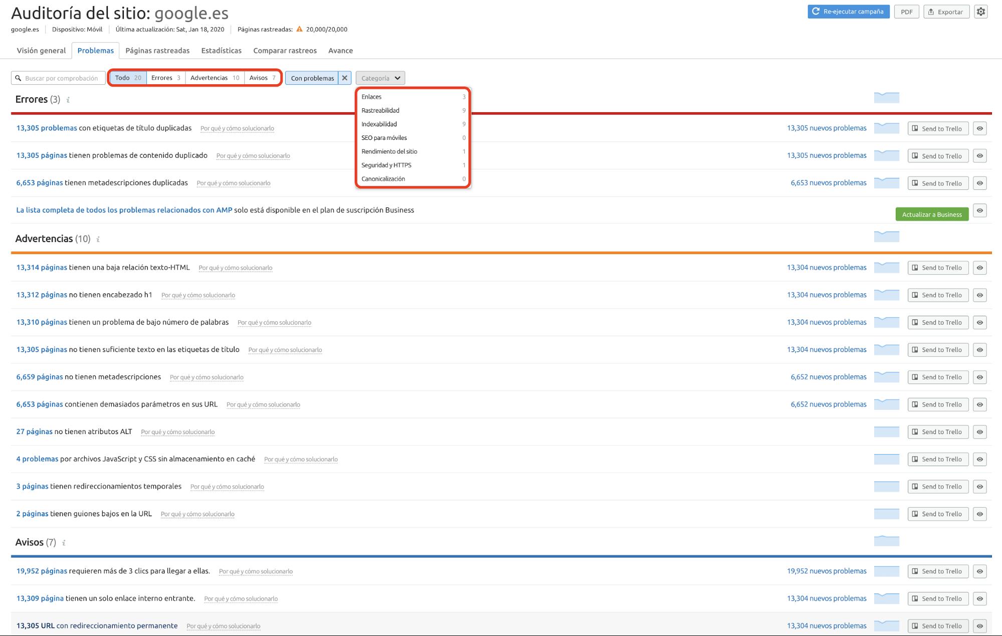 Auditoría SEO - Issues Google
