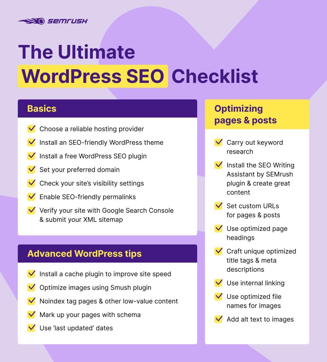 SEMrush WordPress SEO Infographic example
