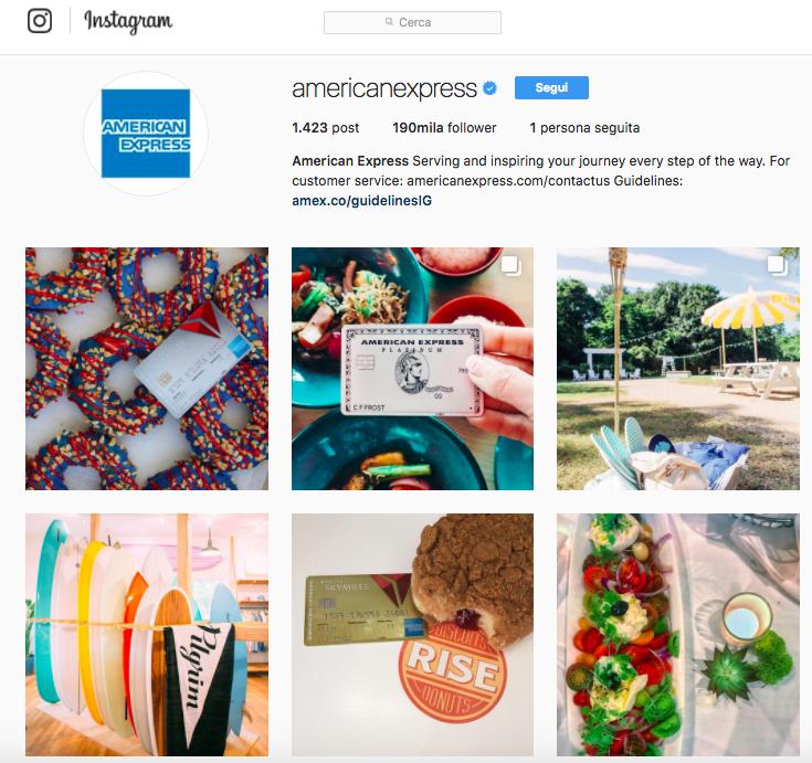 Come essere originali su Instagram? Dai un'occhiata a American Express