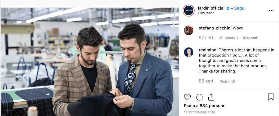Iardini e l'uso dei post dietro le quinte del brand su Instagram