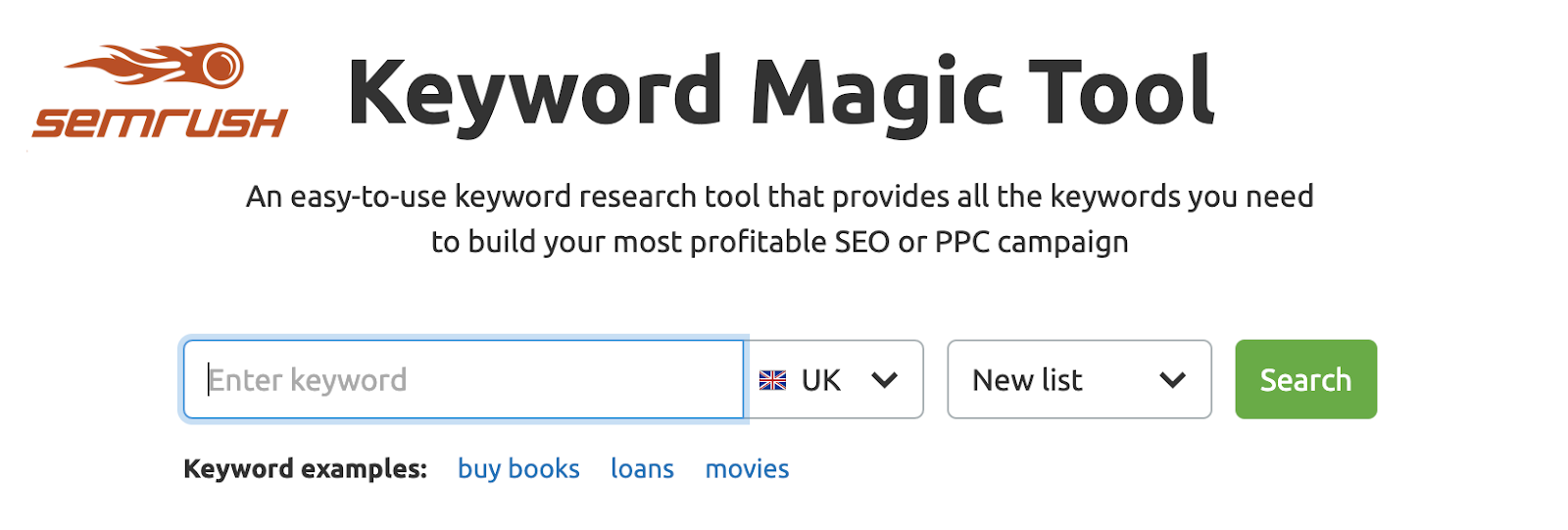 Keyword Magic Tool by SEMrush