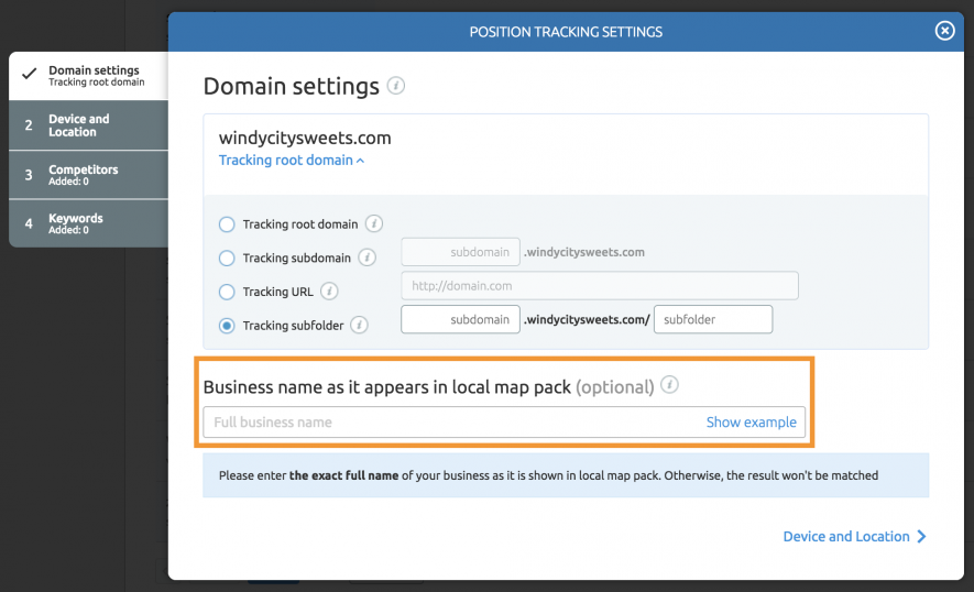SEO local - Position Tracking settings