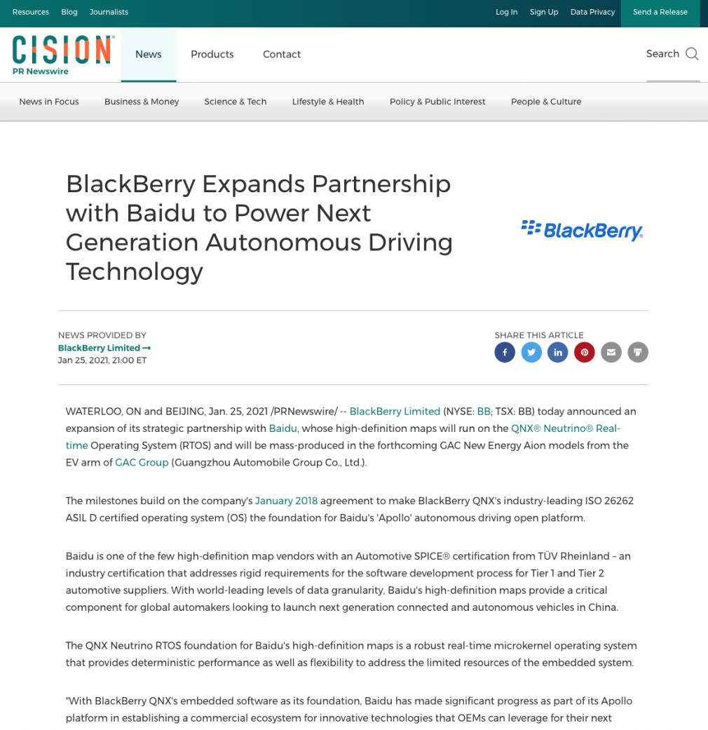 blackberry press release