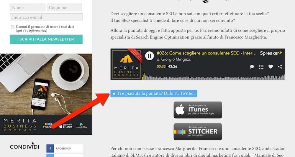 Utilizzo di un pulsante ClickToTweet per promuovere un episodio del podcast