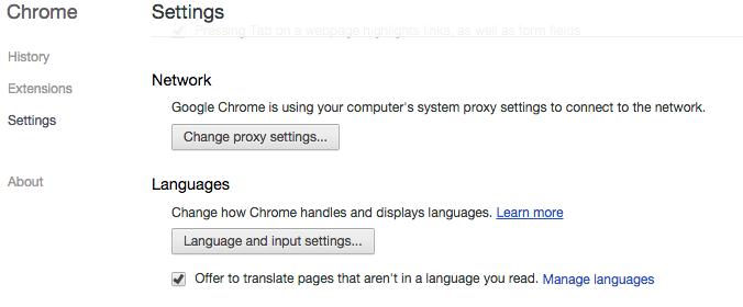 Chrome Language Settings