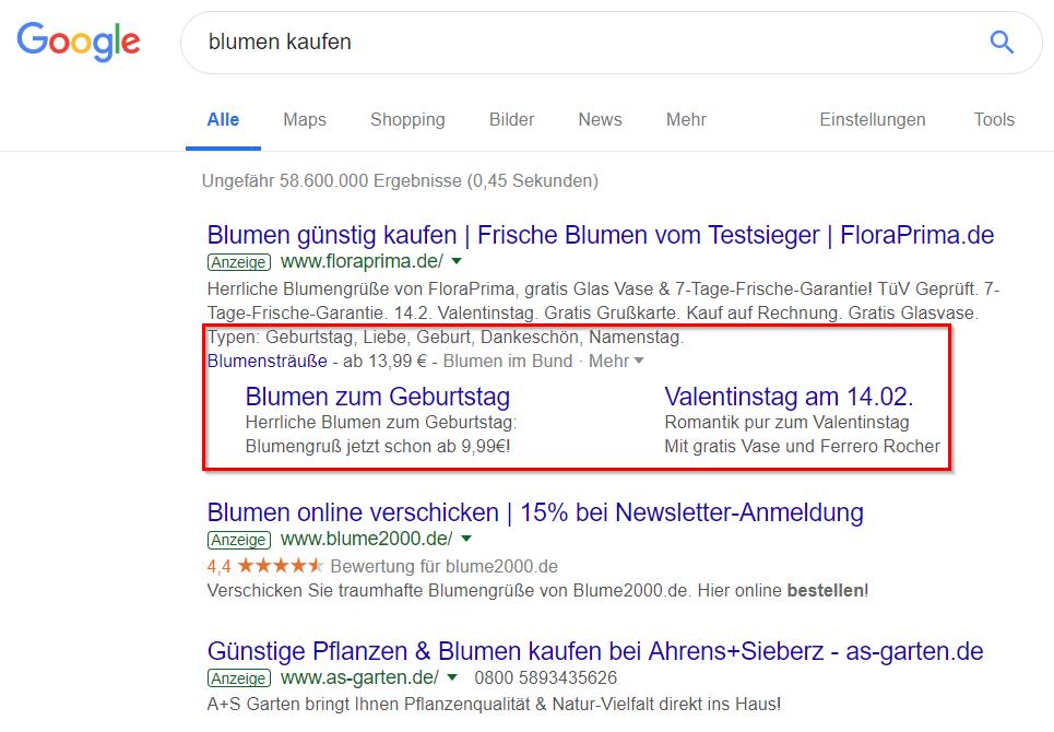 Google-Anzeigen für 'Blumen kaufen'
