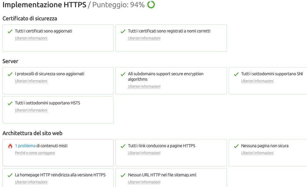 Errori rilevati dal report implementazione HTTPS