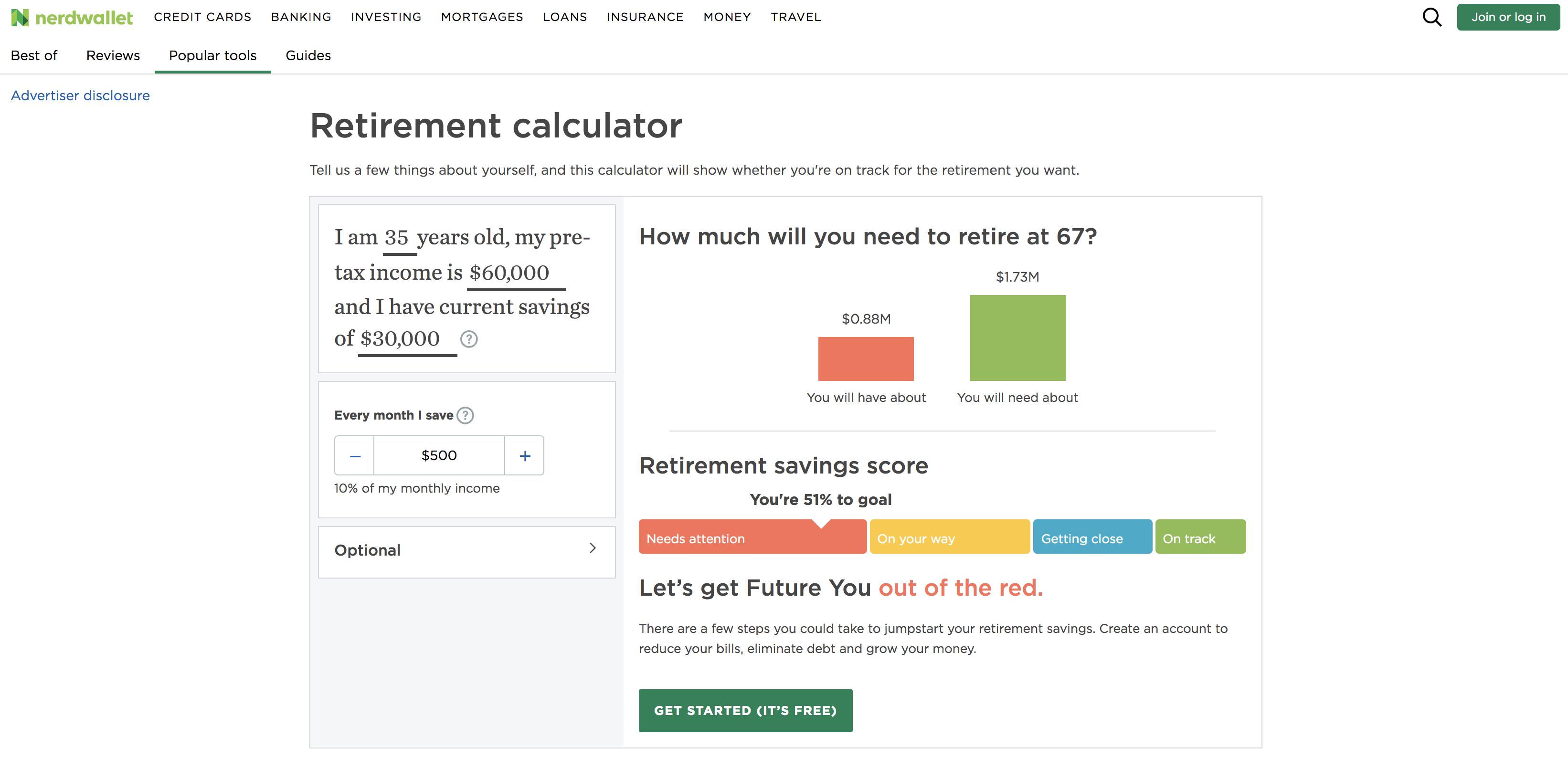 NerdWallet retirement calculator