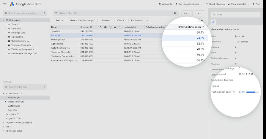 Optimization score in Google Ads Editor v.1.3