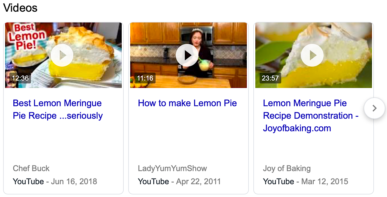 YouTube results in Google search results.