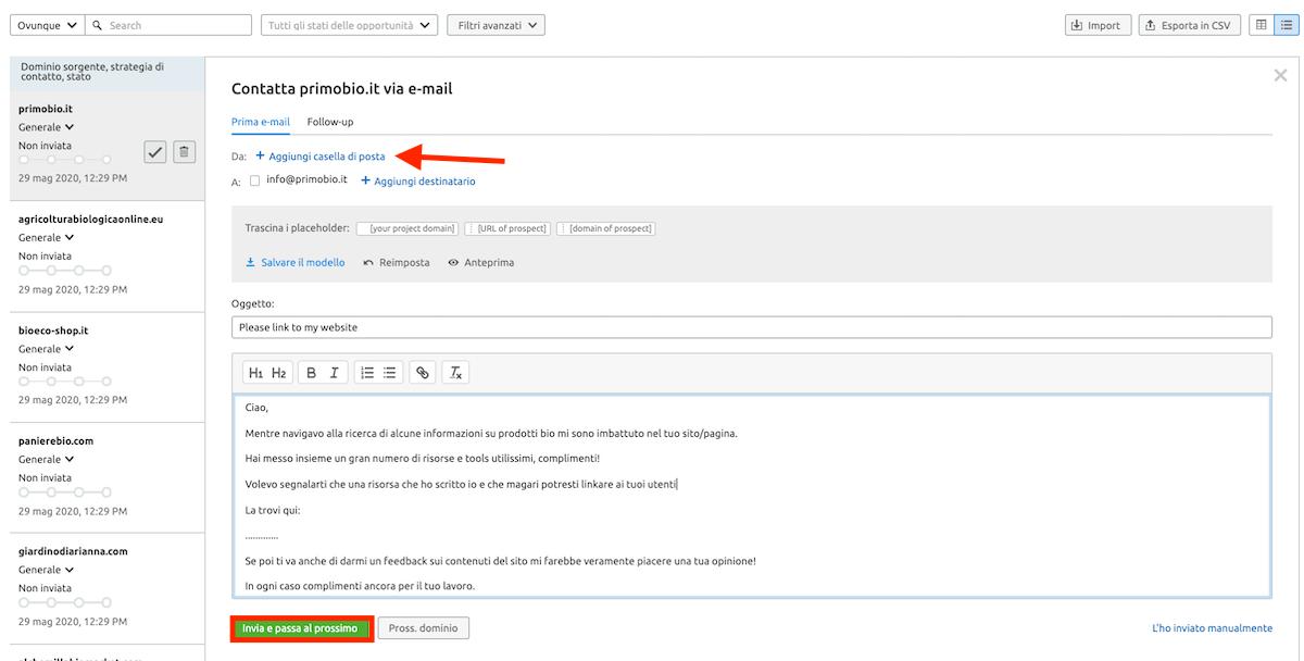Invia una mail per chiedere di aggiungere un link al tuo sito