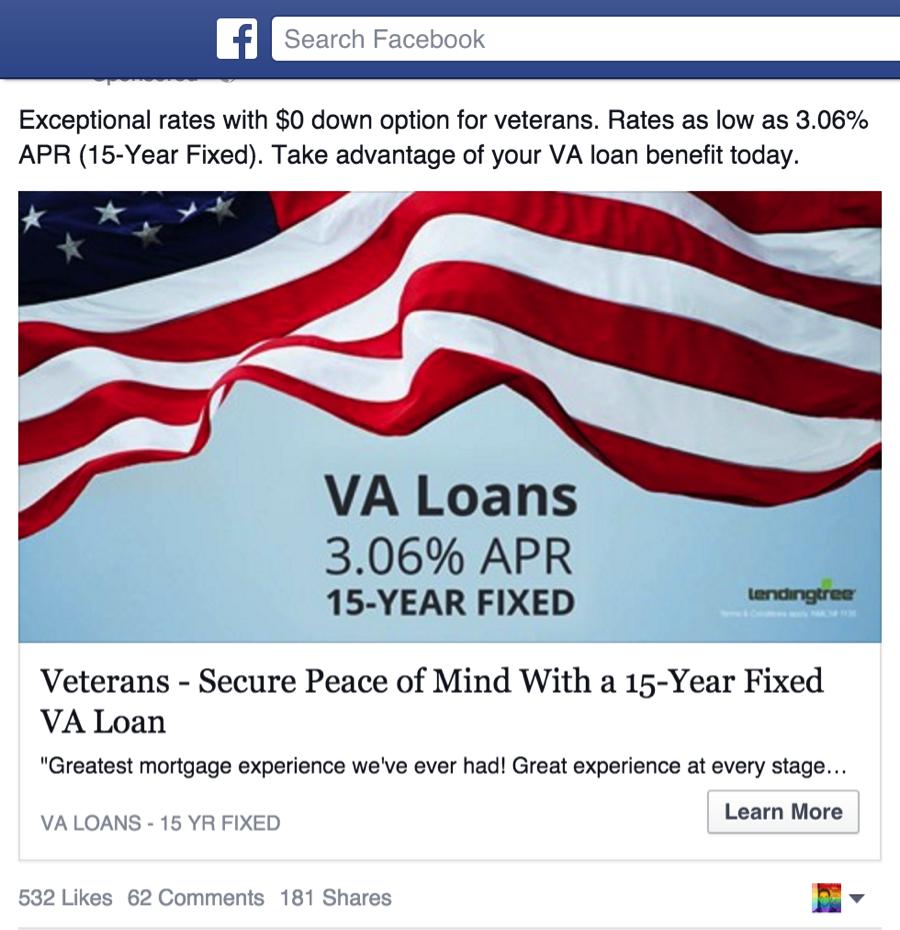 VA Loans Ad Facebook