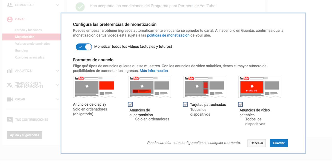 Qué es Google Adsense - Preferencias de monetización