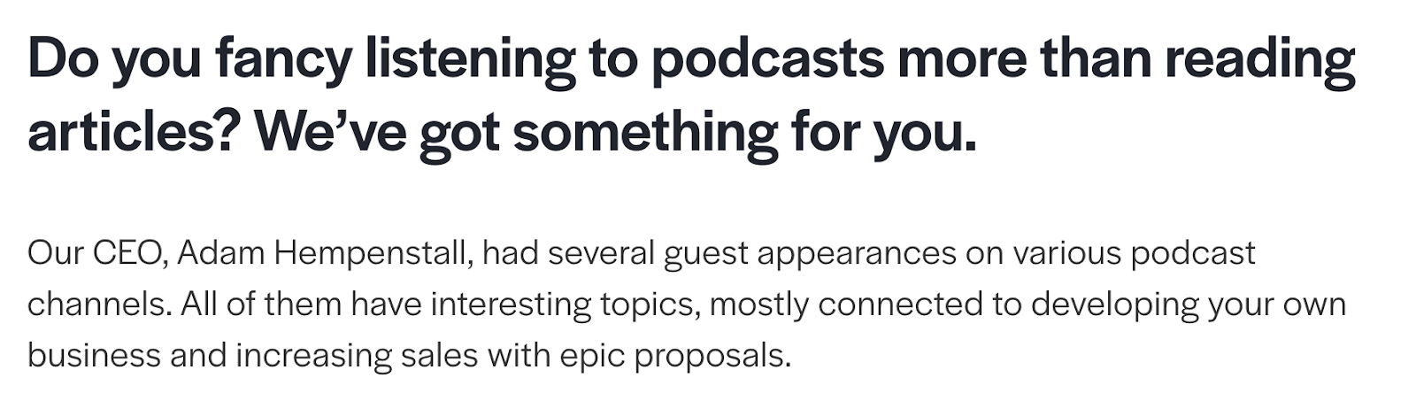 Podcasts with the CEO of Better Proposals
