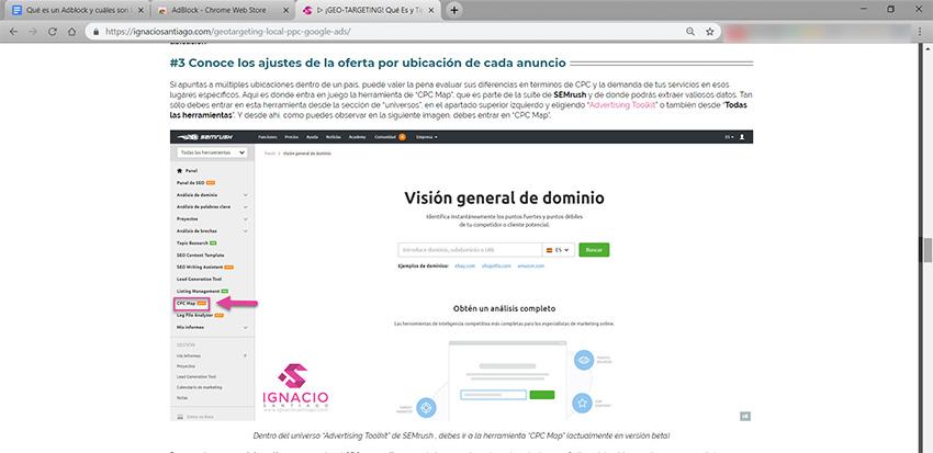 Qué es un Adblock: Ejemplo correcto del blog de Ignacio Santiago