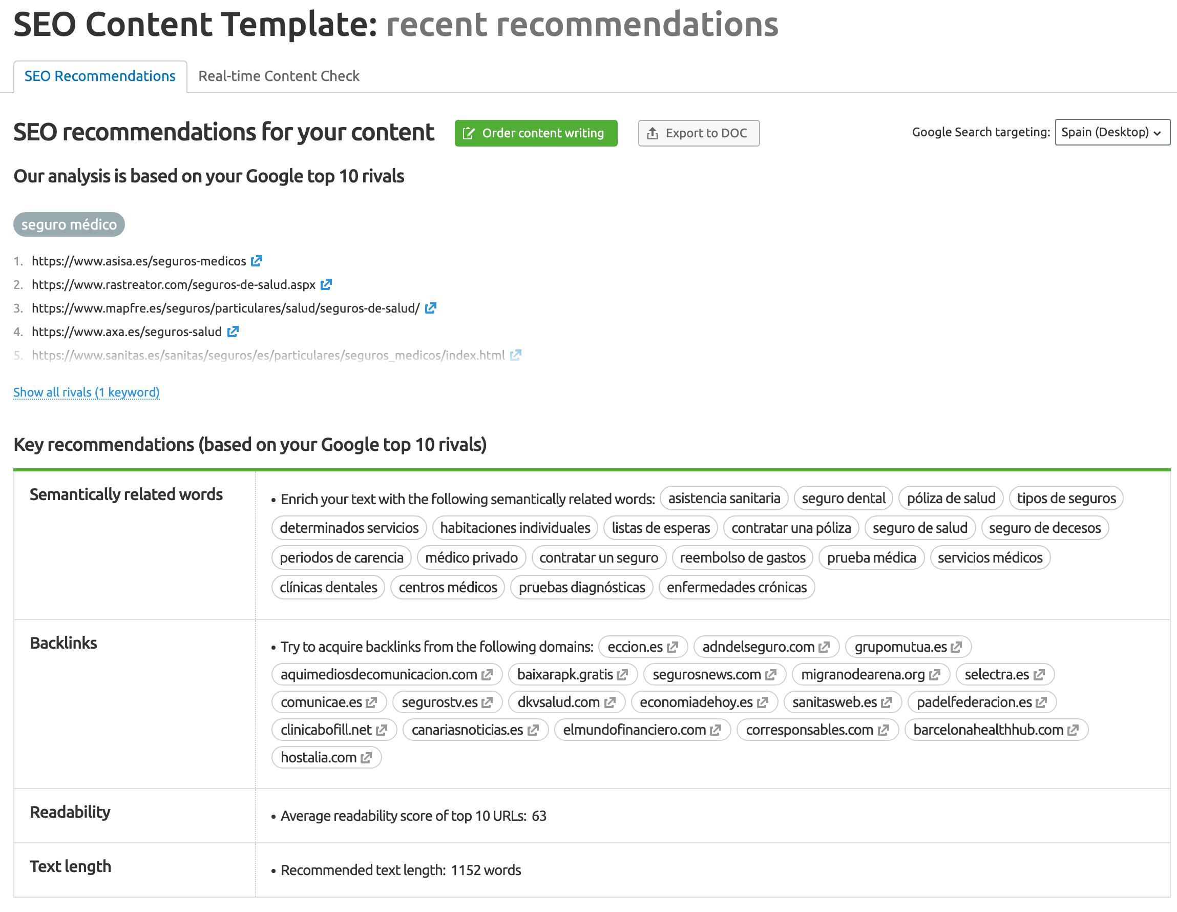 SEO Content Template captura de pantalla