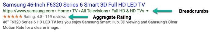A screenshot of a rich result for a 46 inch Samsung TV which includes an aggregate rating value and clean breadcrumbs