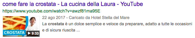 Come sono le serp feature di video su Google (un esempio)