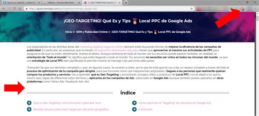 Qué es un Adblock: Ejemplo blog Ignacio Santiago