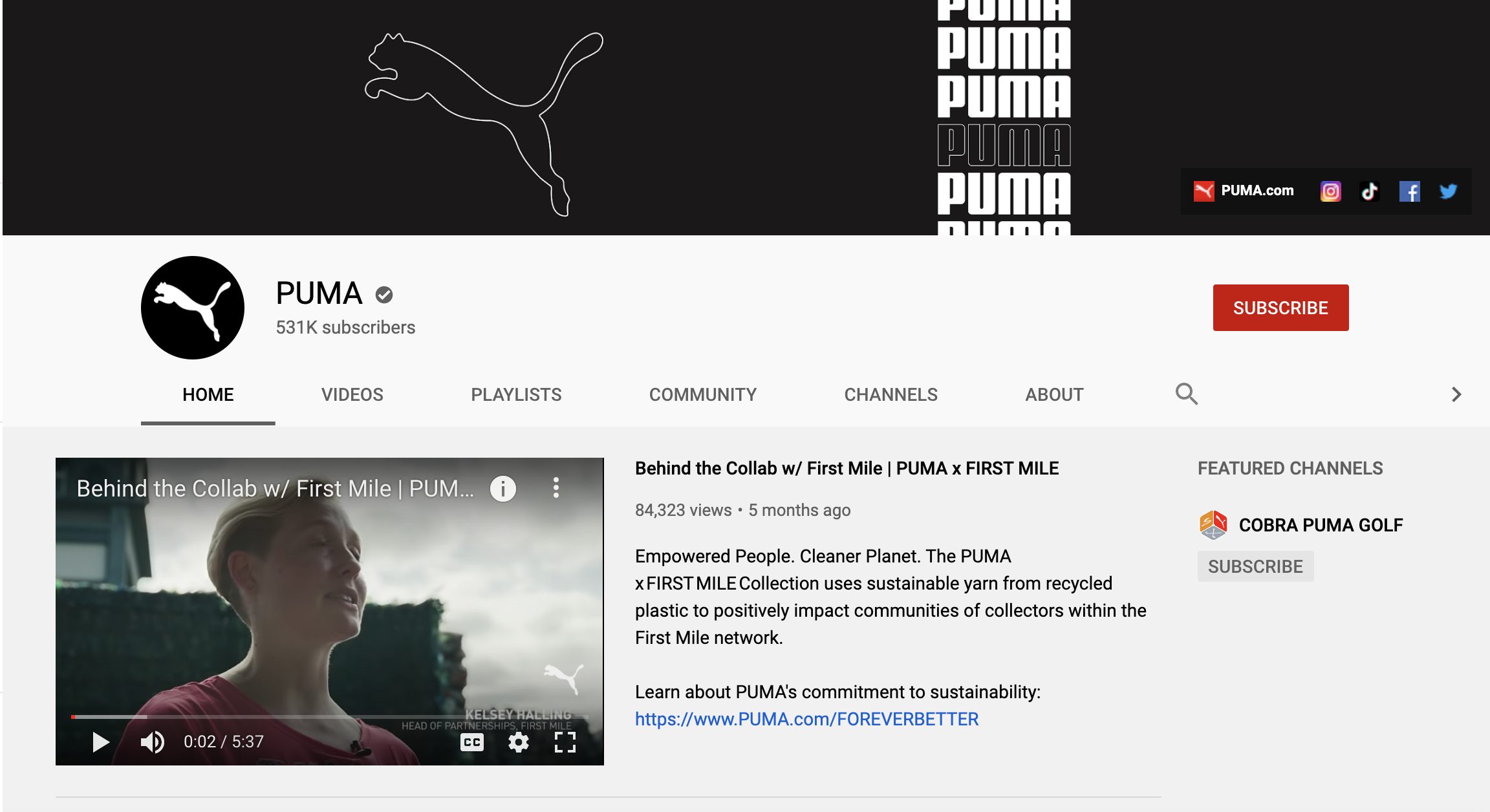 PUMA shoes youtube page and channel trailer