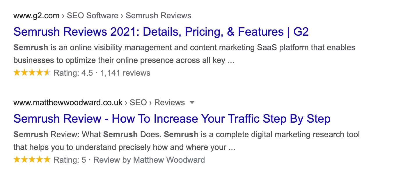 semrush reviews rich snippet example