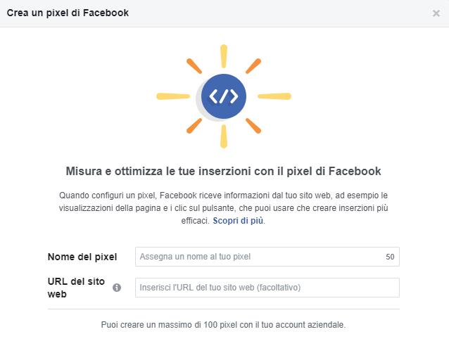 Inserisci i dati richiesti e crea il tuo pixel per Facebook