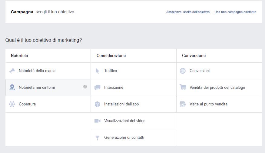 Facebook ADS: Selezione dell'obiettivo della tua campagna locale