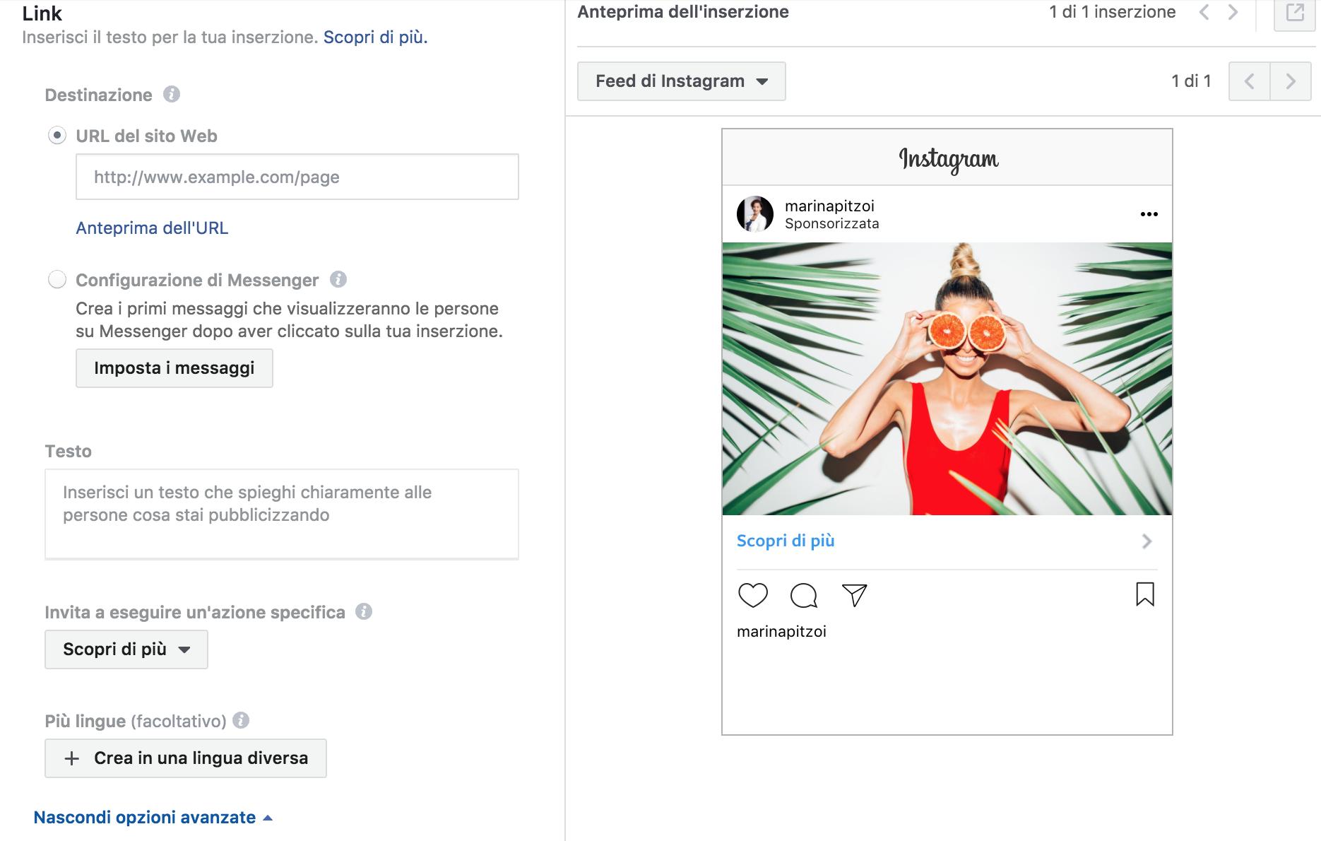 Anteprima dell'inserzione Instagram da Facebook Manager