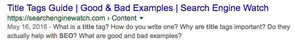 Example: Curious meta description