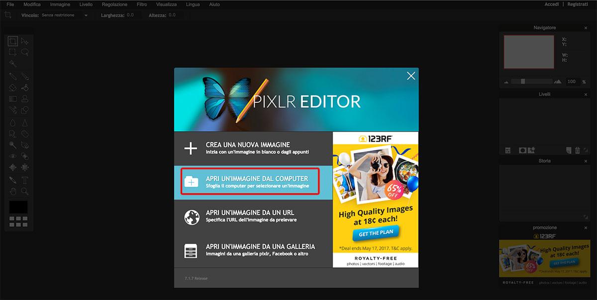 Pixlrper ottimizzare le tue immagini per il web- Apri immagine