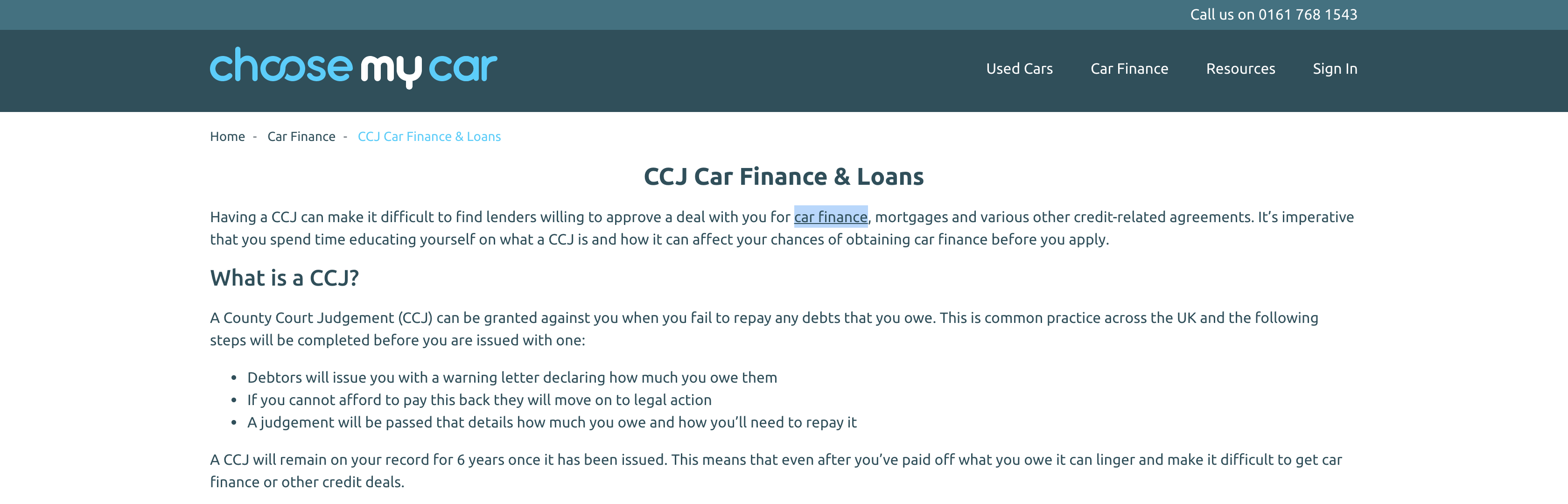 CCJ Car Finance Internal Links Second Example