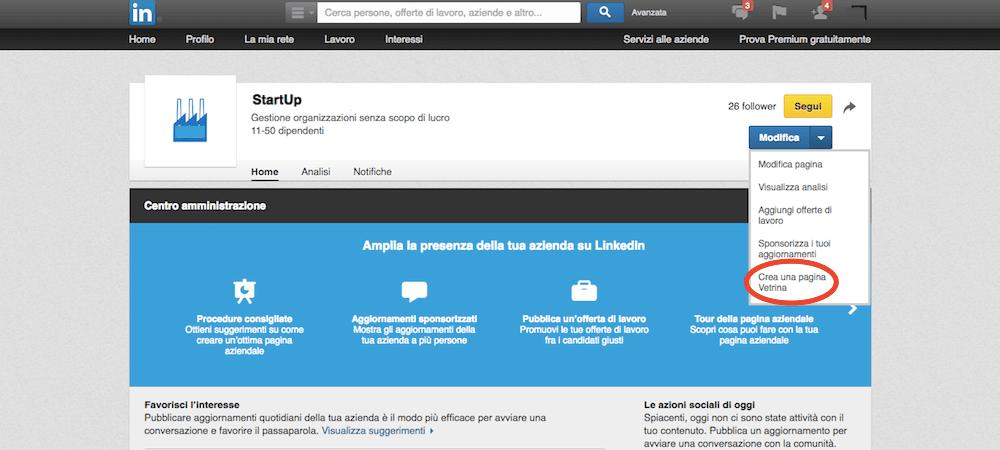 Come si crea una pagina Vetrina aziendale in LinkedIn