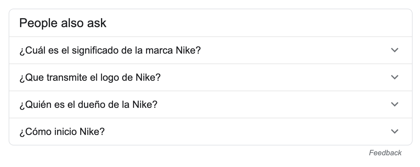screenshot of Nike People Also Ask box