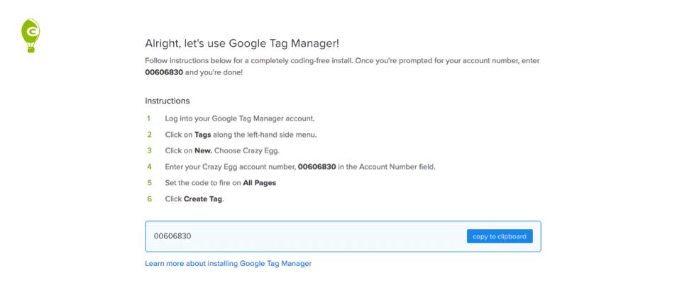 Come istallare Crazy Egg con Google Tag Manager per creare heat maps