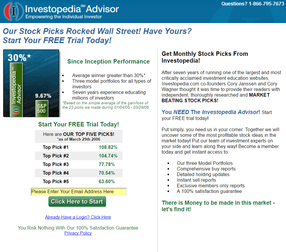 How Investopedia conducted a multivariate test with a short landing page.