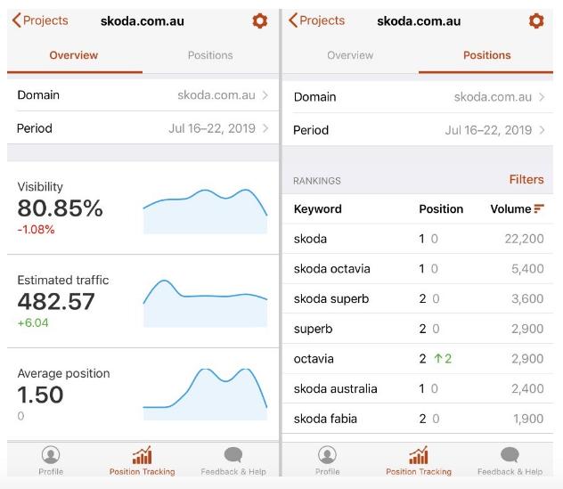 La app per mobile di Position tracking tool