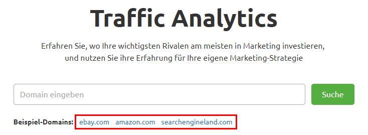 Traffic Analytics ausprobieren mit Beispiel-Domains