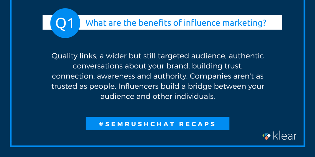 SEMrush chat - Influence marketing Q1